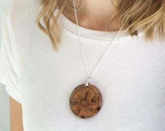 Eco necklace - wood jewelry, pendant necklace, gift for her, handmade jewellery, wood necklace, australian made, banksia