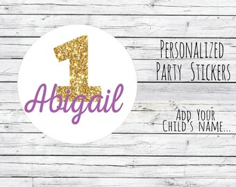 Personalized 1st Birthday Party Favor, Favor Tags, Thanks for Coming, Gold Number One, Glitter Gold, Birthday Stickers, Gold,You Choose Size