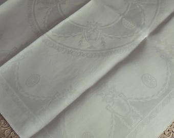 8 White Damask Napkins / Large White Damask Dinner Napkins / Vintage Irish Linen Napkins / Damask Dinner Napkins / Large Damask Lapkins