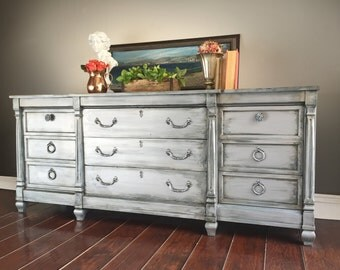 SOLD - Shabby Chic Dresser, Vintage, Buffet, TV Cabinet, Media Console