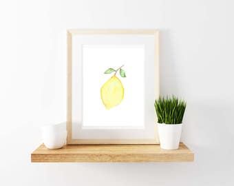 Lemon Watercolor Print. Kitchen Decor. Lemon Print