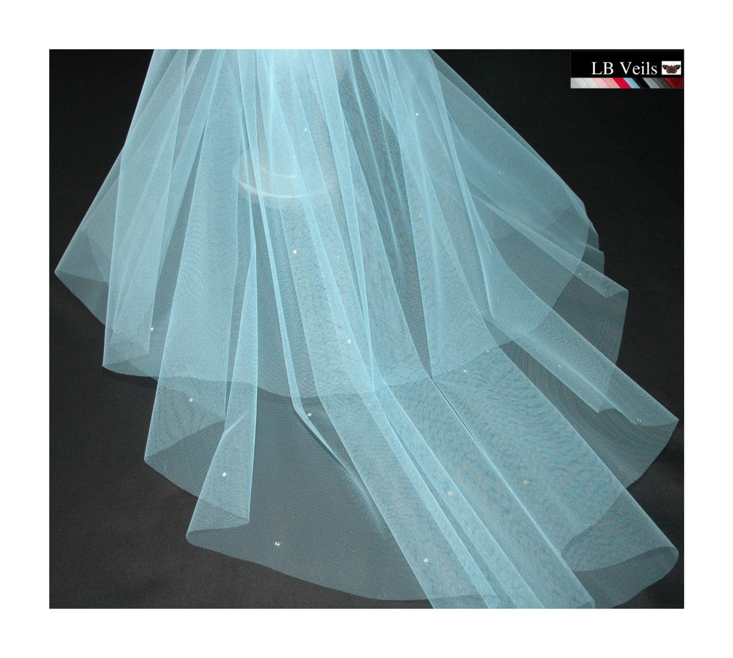 Designer Sky Blue Wedding Veil Any Length Crystal Diamante All Over LBV151 LB Veils UK