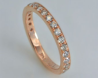 Rose Gold Band with Delicate Diamond Channel Setting