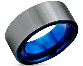 tungsten ring mens blue wedding band tungsten ring tungsten carbide 8mm tungsten man wedding male women