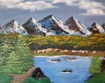 Painting, acrylic painting, mountains, wilderness, mountain lake, lakes, walking outdoors, Birthday, outdoors, canvas,