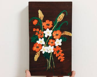 Vintage Flower Painting / Wood Painting / Vintage Art / Kitchen Wall Hanging