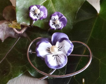 Enamel Pansy Pin and Pansy Earrings Beau Sterling Enamel Pansy Earrings and Pin Set