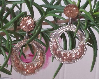 Vintage Dangle Hoop Earrings Sterling and 12k Gold Sterling Gold Drop Earrings