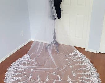 1 Tier White Amelia Bridal Veil Vintage Lace With Applique Cathedral Length READY TO SHIP