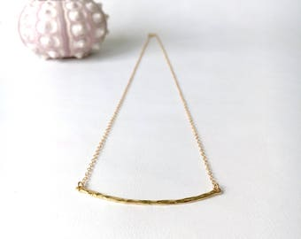 Gold Hammered Bar Necklace, 14kt Gold Fill, Gold Vermeil, Layering Bar Necklace