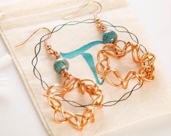 Copper Wire Hoop Earrings, Copper Wire Earrings, Blue Jasper Bead Earrings Wire Wrap Copper Earrings, Dangle Copper Wrap Earrings, Gifts