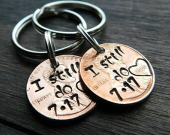 Custom I Still Do Lucky Penny Keychain, Anniversary Gift, Gift For Husband, Anniversary Gift For Wife, Gift for Her, Best Selling Item