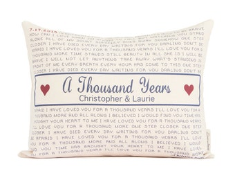 Personalized Song Lyric Pillow, Gift for Him, Lyrics Pillow, 2nd Year Anniversary, Cotton Anniversary, Custom Pillow, Throw Pillows