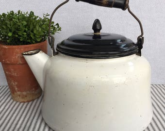 Amazing Very Large White Enamelware Tea Kettle with Black Lid & Gorgeous Old Wood Handle, Item No. 1824