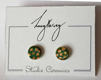 Stoneware pottery earrings with gold lustre spots