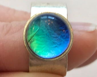 SALE Adjustable Dichroic Fused Glass Statement Ring on a Antiqued Silver Ring Base, Blue and Green Dichroic Glass Ring, Fused Glass Jewelry