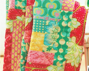 Pretty LOG CABIN & PATCHWORK Quilt Sewing Pattern, Blanket Cushion, Floral, Vintage, Cottage Chic, Recycling, Upcycling, Green, Fat Quarters