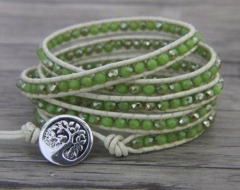 Boho green AB style Beads Bracelet glass crystal Bead Bracelet 5 Wrapped Multi Colors Bracelet Gypsy Beaded Bracelet BOHO Jewelry SL-0443