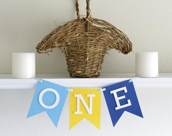Boy Highchair Banner - One Highchair Boy Party Banner -Boy 1st Birthday Decoration - Boy First Birthday Banner - Highchair Party Banner Boy