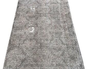 Gray Distressed Rug - MUTED Rug - Handmade Rug, Vintage Carpet  - Gray Overdyed Rug - Anatolian Ethnic Rug - Turkish Rug - Grey OUSHAK Rug