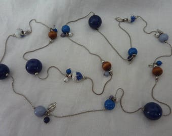 Long Ceramic Wooden Bead Beaded Necklace Blue Silver White Multi Coloured String