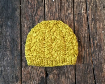 Adult Hand-knit Cable Hat/ Cap, Ethically Sourced Wool, Ochre