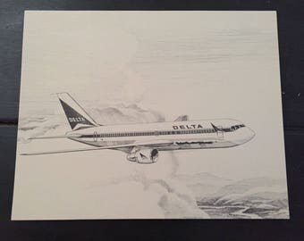 Plane Sketch; Delta Airlines 50th Anniversary Airplane Print; B-767; Airline Anniversary Gift; Airplane Picture; B-767 Airplane