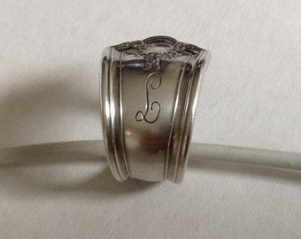 Handmade Flatware Ring With Initial L