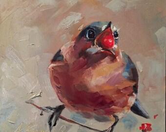 eastern bluebird // female eastern bluebird // original art // bird art // bird painting // bluebird painting // bluebird art // painting