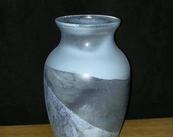 Hand Painted Gray Vase/Gray Modern Bathroom vase/ SOLD!! Sold!! Sold!!