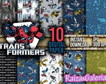 AWESOME Transformers Digital Paper. Instant Download - Scrapbooking - Optimus Prime Transformers Printable Paper