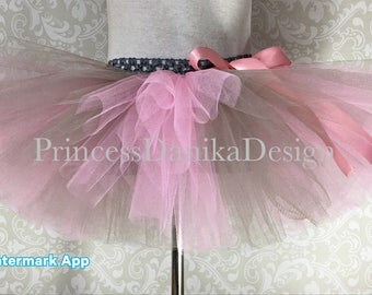 Striped Pink and Gray Tutu, 1st Bday Tutu, Smash Cake Tutu, Bridal Shower Tutu, Baby Shower Tutu, Holiday Tutu, Adult Tutu, Running Tutu