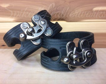 Pair of Leather Bracelets / Cuffs