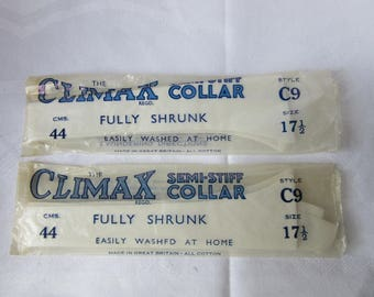 2 CLIMAX detachable semi-stiff collars - old stock - never used- vintage, retro, 1930 ?