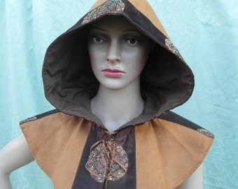 Brown faux suede cowl with brocade detail