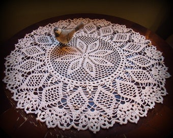 "Crochet Doily in Ecru/Natural--Filet Flower Petals with Scalloped Edging--20"" Table Topper--Free Shipping"
