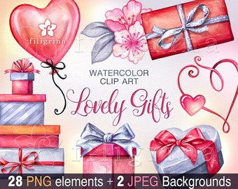 Romantic GIFTS Clip Art. Presents set, lovely gift boxes, flowers, balloons, heart, Valentine's day, love decor. 28 elements. Read about use