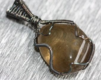 Smoky Citrine - oxidized silver wire wrapped pendant