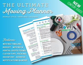 Moving Planner, Moving Checklist, Moving Organizer, Moving Tips, Moving Budget, Printable Checklist, Home Moving Kit