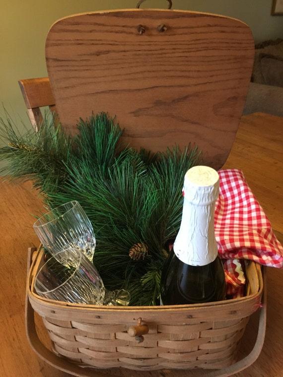 Handmade Small Baskets : Small longaberger handmade picnic basket by