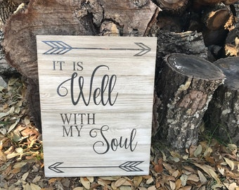 It Is Well White-Washed Wooden Sign wooden sign - christian hymn- it is well - rustic sign - home decor