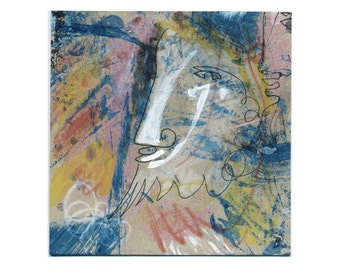 Wall art abstract 15/15 cm (5.9/5.9 inch) image painting/painting, drawing/drawing