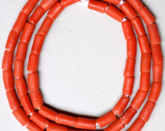 Vintage African Sand Cast Beads - Powder Glass Beads - Coral Tubes - 28 Inch Strand