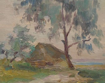 Mid Century VINTAGE LANDSCAPE Original Oil Painting by Soviet Ukrainian Russian artist Pushnikova G. 1956, Signed, Countryside scenes