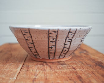 White Speckled Bowl with Birch Motif