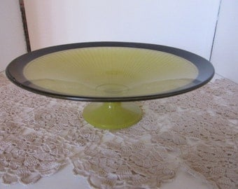 Art Deco Yellow and Black Ribbed Console Bowl