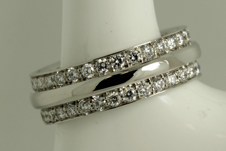 Platinum Full Double Row Ladies Wedding Band Eternity Ring Platinum