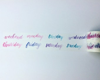 Watercolour days of the week washi