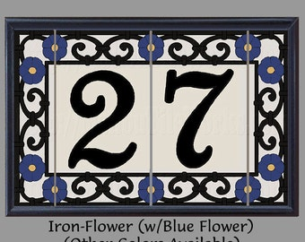 iron flower house numbers address tiles decorative framed set spanish iron flowers design - Decorative House Numbers