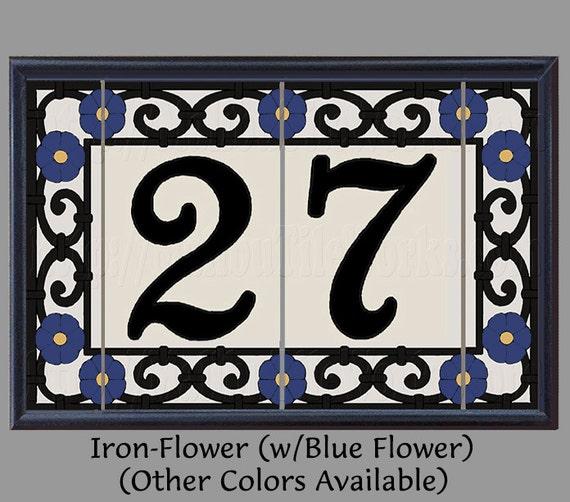 iron flower house numbers address tiles decorative framed set. Black Bedroom Furniture Sets. Home Design Ideas